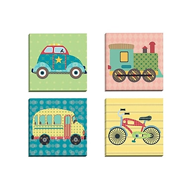 Portfolio Canvas Getting There Bike by Sandy Doonan 4 Piece Graphic Art on Wrapped Canvas Set
