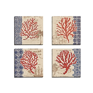 Portfolio Canvas Burlap Coral I by Paul Brent 4 Piece Graphic Art on Wrapped Canvas Set