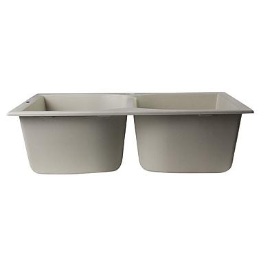 Alfi Brand 31.13'' x 19.75'' Drop-In Double Bowl Kitchen Sink; Biscuit