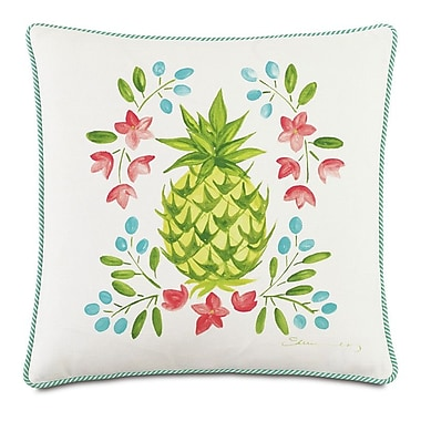 Hen Feathers Tropical Gourmet Welcome Throw Pillow