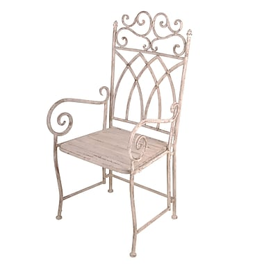 EsschertDesign Aged Metal Carver Patio Dining Chair