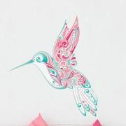 My Wonderful Walls Hummingbird Swirl Wall Sticker; Pink / Turquoise