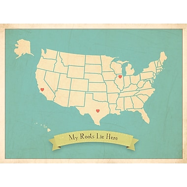 Children Inspire Design My Roots Personalized USA Map Graphic Art in Blue