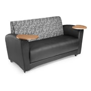 OFM Interplay Polyurethane Double Tablet Sofa, Nickel/Black (822-N-606-BRONZ)