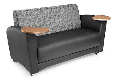 OFM Interplay Polyurethane Double Tablet Sofa, Nickel/Black (822-N-606-BRONZ)
