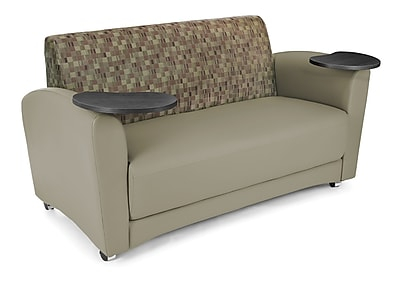 OFM Interplay Polyurethane Double Tablet Sofa, Plum/Taupe (822-P-607-TNGST)