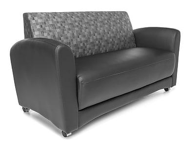 OFM Interplay Polyurethane Double Seat Sofa No Tablet, Nickel/Black (822-NCKL-PU606NT)