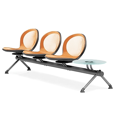 OFM – Trois sièges en rangée de série Net avec table, orange (845123027073)