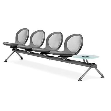 OFM – Ensemble de 4 sièges en rangée avec 1 table, série Net, gris (845123027127)