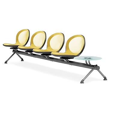 OFM – Quatre sièges en rangée de série Net avec table, jaune (845123027172)