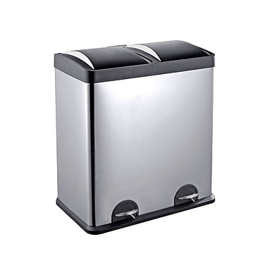 The Point Gallery Step N' Sort 2-Compartment Trash & Recycling Bin, 60L