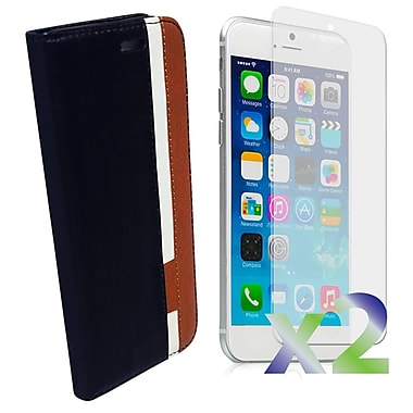 Exian Case for iPhone 6 Plus Leather Wallet, Black/White/Brown