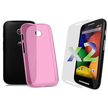 Exian Case for Moto E, Transparent Hot Pink
