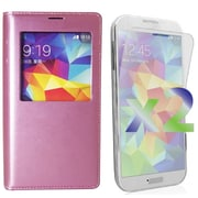 Exian Case for Galaxy S5 Flip with Call Access Window, Pink