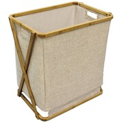 "Cathay Importers Bamboo Linen Rectangular Laundry Hamper, 19.5"" x 13.5"" x 21.5""H"