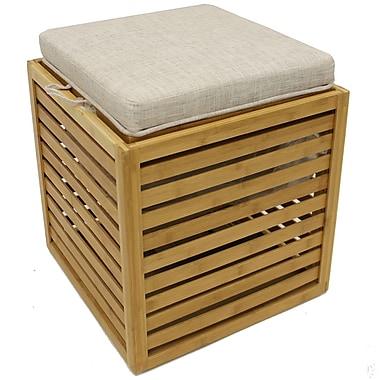 Pouf carré en lin et bambou avec plateau, 16 x 16 x 18 haut. (po)