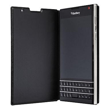 BlackBerryMD – Étui passeport à rabat en cuir, noir