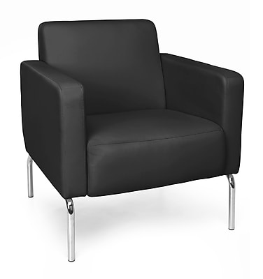 OFM Triumph Lounge Chair with Vinyl Seat and Chrome Frame, Black (3002-PU606)