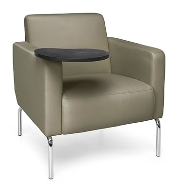 OFM Triumph Lounge Chair with Vinyl Seat and Chrome Frame, Taupe with Tungsten Tablet (3002-PU607-TG)