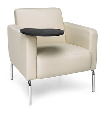 OFM Triumph Lounge Chair with Vinyl Seat and Chrome Frame, Cream, Tungsten Tablet (3002-PU609-TG)