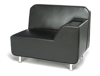 OFM Serenity Left Arm Lounge Chair with Black Seat and Chrome Legs, Tungsten Tablet (5000L-BLK-TG)