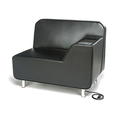 OFM Serenity Left Arm Lounge Chair with Electrical Outlet, Black Seat and Chrome Legs with Tungsten Tablet (5000LE-BLK-TG)