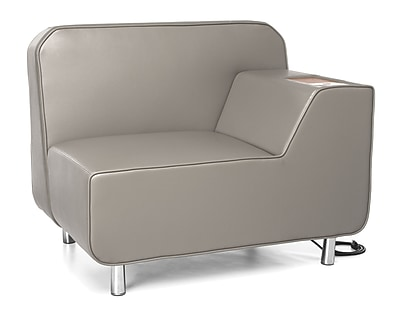 OFM Serenity Left Arm Lounge Chair with Electrical Outlet and Bronze Tablet, Taupe Seat/Chrome Legs (5000LE-TAU-BZ)