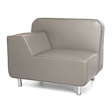 OFM Serenity Right-Arm Lounge Chair with Taupe Seat and Chrome Legs, with Bronze Tablet (5000R-TAU-BZ)