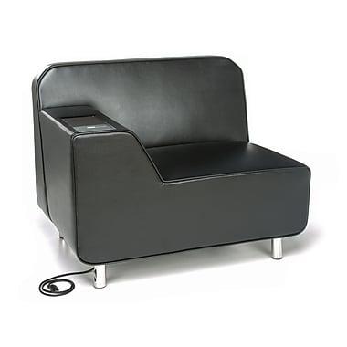 OFM – Fauteuil à accoudoir droit Serenity avec prise électrique, siège noir, pattes chromées, tablette tungstène (845123029633)
