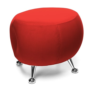 OFM Jupiter Series Fabric Ball Stool, Red with Chrome Finish (2001-2312)