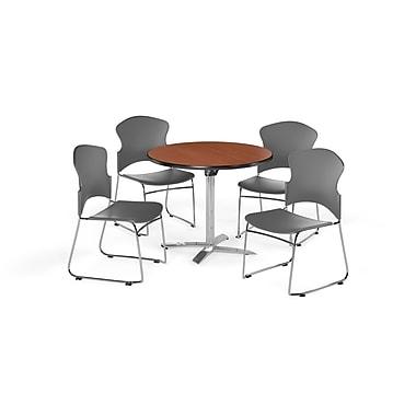 OFM – Table ronde et polyvalente de 36 po avec dessus pliable en stratifié cerisier et 4 chaises grises (845123054444)