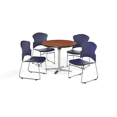 OFM – Table ronde et polyvalente de 42 po avec dessus pliable en stratifié cerisier et 4 chaises bleu marine (845123054635)