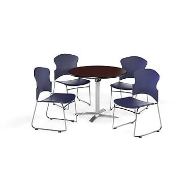 OFM – Table ronde multiusage à plateau stratifié rabattable de 42 po avec 4 chaises, acajou/bleu (845123054710)