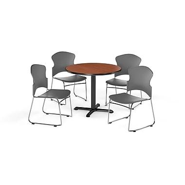 OFM – Table ronde polyvalente de 42 po en stratifié cerisier de la gamme X et 4 chaises grises (845123055083)