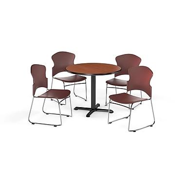 OFM – Table ronde polyvalente de 42 po en stratifié cerisier de la gamme X et 4 chaises rouge vin (845123055106)