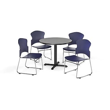 OFM – Table ronde multiusage à plateau stratifié de 36 po avec 4 chaises, série X, gris/bleu (845123054833)