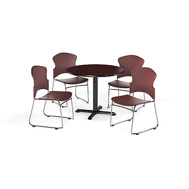 OFM – Table ronde et polyvalente de série X de 36 po en stratifié acajou avec 4 chaises couleur vin (845123054864)