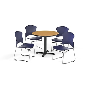 OFM – Table ronde et polyvalente de série X de 36 po en stratifié chêne avec 4 chaises bleu marine (845123054918)