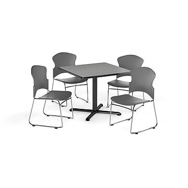OFM – Table carrée et polyvalente de série X de 36 po en stratifié gris nébuleux avec 4 chaises grises (845123054963)