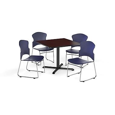 OFM – Table carrée et polyvalente de série X de 36 po en stratifié acajou avec 4 chaises bleu marine (845123055038)