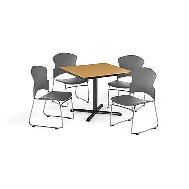 OFM – Table carrée polyvalente de 42 po en stratifié chêne de la gamme X et 4 chaises grises (845123055366)