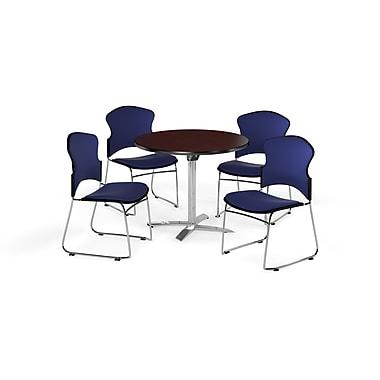 OFM – Table ronde et polyvalente de 36 po avec dessus pliable en stratifié acajou et 4 chaises bleu marine (845123055502)