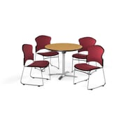 "OFM 36"" Round Laminate Multi-Purpose Flip-Top Table with 4 Chairs, Oak Table/Wine Chairs (PKG-BRK-037-0014)"