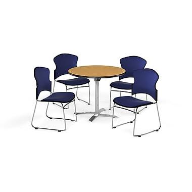 OFM – Table ronde et polyvalente de 36 po avec dessus pliable en stratifié chêne et 4 chaises bleu marine (845123055540)
