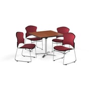 "OFM 36"" Square Laminate Multi-Purpose Flip-Top Table with 4 Chairs, Cherry Table/Wine Chairs (PKG-BRK-038-0002)"