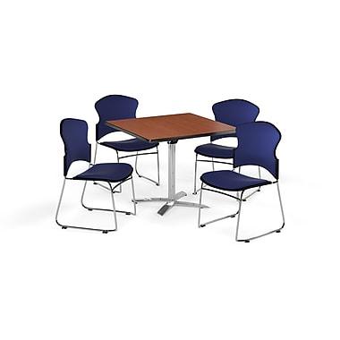 OFM – Table carrée polyvalente de 42 po en stratifié cerisier avec plateau repliable et 4 chaises bleu marine (845123055908)