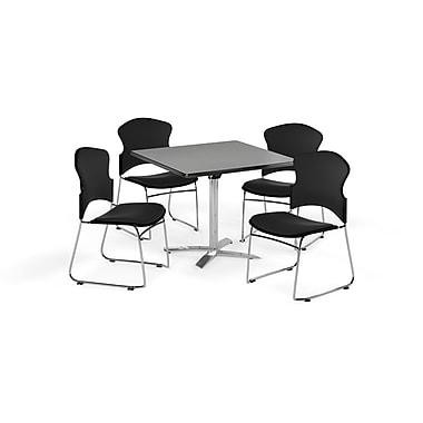 OFM – Table carrée et polyvalente de 42 po avec dessus pliable en stratifié gris nébuleux et 4 chaises noires (845123055953)