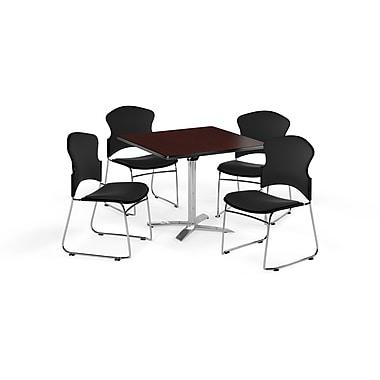 OFM – Table carrée et polyvalente de 42 po avec dessus pliable en stratifié acajou et 4 chaises noires (845123055991)