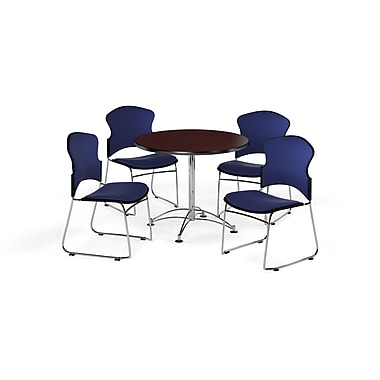 OFM – Table ronde et polyvalente de 36 po en stratifié acajou avec 4 chaises bleu marine (845123056141)