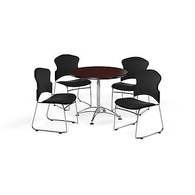 OFM – Table ronde polyvalente de 36 po en stratifié acajou et 4 chaises noires (845123056158)